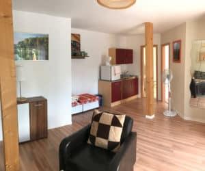 Helles Wohnzimmer im Appartement - Pension am Weissen See